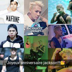 Joyeux anniversaire Jackson 🎇🎇🎇🎇 tu as déjà 24ans (âge coréen) et 23ans (en âge universelle) profite de t'as journée !!!!!!!!!! 🙆🙆🙆🙌 🙌🙌