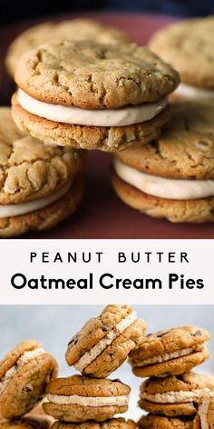 Peanut Butter Filling, Peanut Butter Oatmeal, Cookies With Peanut Butter, Baking Recipes, Dessert Recipes, Mexican Food Recipes, Oatmeal Cream Pies, Twisted Recipes, Oatmeal Cookies