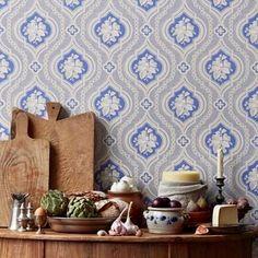 Tradition mønstret blå - tapet - m - fra Sandberg Decor, Cool Rooms, Medallion Wallpaper, Wallpaper, Swedish Wallpaper, Exposed Brick Walls, Blue Wallpapers, Interiors Dream, Damask Pattern Design