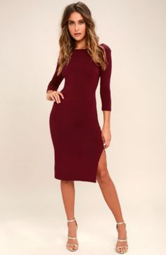 41dfb294773c Elegant Artistry Burgundy Bodycon Midi Dress is all you need for a  put-together look! A rounded neckline with a scooping back tops this knit  bodycon dress.