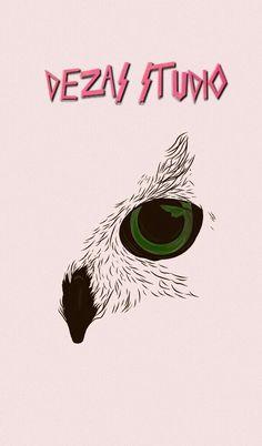 Bird drawing, one eye, dezas studio