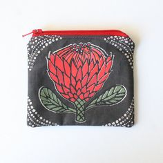 Taupe Protea Flower Handmade Coin Purse