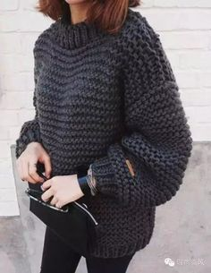 Casual women s round neck solid color thicken long sleeve sweater outfits for fall 2019 Baggy Sweaters, Winter Sweaters, Sweaters For Women, Oversized Sweaters, Baggy Sweater Outfits, Legging Outfits, Knitting Sweaters, Casual Sweaters, Casual Jeans
