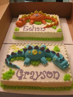 Lisa's Cakes and Cupboards: Twin Dinosaurs for Twin Grandsons 4th Birthday Parties, Birthday Fun, Birthday Ideas, Dinosaur Birthday Cakes, Dinosaur Cakes For Boys, Dino Cake, Twin Birthday, Cupcake Cakes, Cupcakes