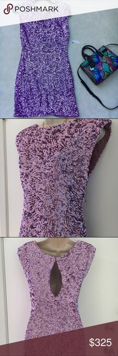 """NWT Alice + Olivia lilac sequined dress I'm selling this on behalf of my sister in law, an extreme fashionista and mother of 2! Comes from a smoke-free, pet-free home. Offers are welcome through the offer button, and I would be happy to do a custom bundle for a bigger discount. No trades.  This is a NWT Alice + Olivia lilac sequin dress in size S. Retail MSRP $495.  Length: 33.5"""" Bust: 34"""" Waist: 26"""" Hips: 36"""" Sleeve length: sleeveless Alice + Olivia Dresses"""