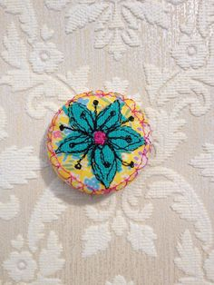stitched floral brooch/badge fabric vintage by AmandaWoodDesigns, £8.00