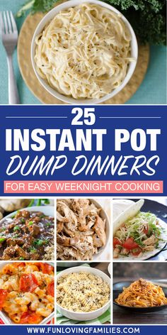 Dump dinners for the Instant Pot: Lots of easy dinner recipes. Dump and push start, then spend time with the family while dinner cooks itself. food recipes 25 Delicious Instant Pot Dump Dinners for Easy Weeknight Meals Dump Dinners, One Pot Dinners, Easy Dinners, Crock Pot Dump Meals, Easy One Pot Meals, Quick Meals, Easy Dinner Meals, New Mom Meals, Weekday Meals