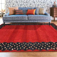 Rugsville Border Red Blue Wool Rug 13201
