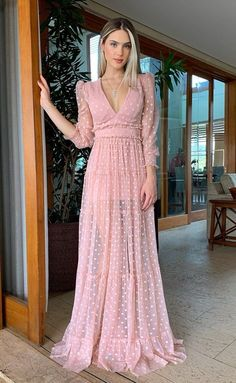 A Line Long Prom Dresses Long Sleeves Pink Evening Dress Pink Evening Dress, Prom Dresses Long With Sleeves, Long Dresses, Casual Dresses, Fashion Dresses, Ootd Fashion, Maxi Dresses, The Dress, Dress Long