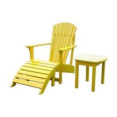 International Concepts Yellow Wood Coastal Adirondack Chair With Ottoman…