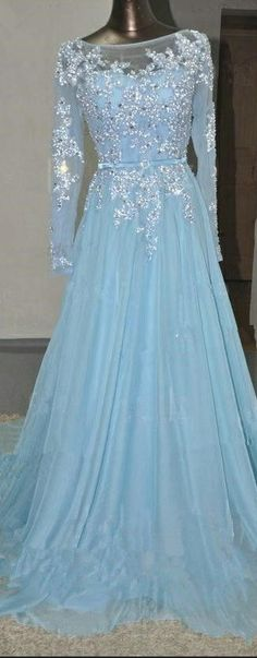 Custom Made Distinct Long Sleeve Prom Dresses, Blue Long Sleeve Prom Dresses, Long Prom Dresses, Baby Blue Long Sleeves Lace Beading Chiffon Prom Dresses Prom Dresses Long With Sleeves, Long Prom Gowns, A Line Prom Dresses, Homecoming Dresses, Dress Prom, Wedding Dresses, Dress Lace, Elsa Dress, Dresses 2016