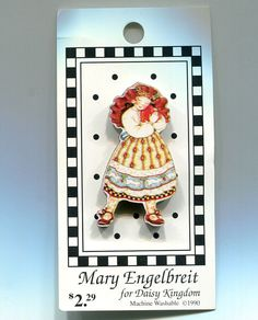 Mary Engelbreit Red Haired Girl Button NBS by vintagebuttonsplus