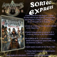 Hi everyone, here in Sevilla, Spain, we are celebrating a contest about Assassin's Creed that consist on answer a few questions about the full saga. The one who have the full questions well answered will win an Assassins Creed Syndicate poster. Come and participate!!  https://m.facebook.com/home.php#!/photo.php?fbid=10209881349762865&id=1007121088&set=gm.767088963439378&source=48&__tn__=E #assassinscreed #assassins #ubisoft #assassinscreedmovie #aguilardenerha #assassinscreed #assassins…