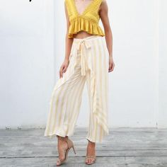 Flow down the beach to the envious eyes of others with your Ruffle Flow Striped Wide Leg Pants. Wide Leg Pants, Trendy Outfits, Flow, Stylists, Bohemian, Street Style, Dreams, Chic, Summer