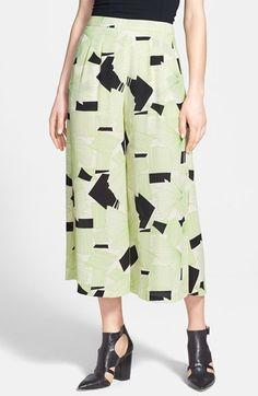 ASTR Graphic Print Gaucho Pants Womens Green Black Multi Size X-Small X-Small