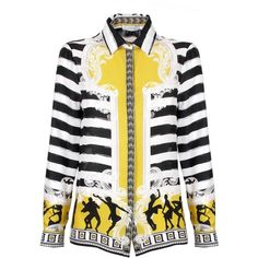 Versace Collection Stripe Silk Shirt ($740) ❤ liked on Polyvore featuring men's fashion, men's clothing, men's shirts, mens striped shirt, mens print shirts, baroque men's clothing, versace mens clothing and mens stripe shirts