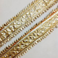 Yellow and Silver Gota Patti  Sari Border  Gota by DesiFabrics, $4.00