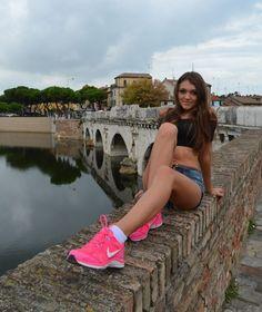 #italia  #hot #summer #brunette #longhair #sexy #smile #beautiful #day #sunny #shoting #photomodel #praguegirl #cute #lovely #pink #nike #shorttop #ulala #rimini #walking #bridge #loveit by vally212121