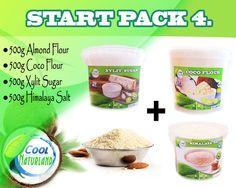 STARTPACK =  Kokosmehl, Mandelmehl, Xylit Zucker, Himalaya Salz 4 x 500g