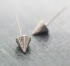 Cone Stud Earring,Sterling Silver Earring,Spike Earring,Silver Ear Post,Cone Ear…