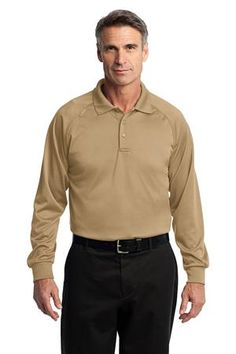 Buy the CornerStone - Select Long Sleeve Snag-Proof Tactical Polo Style CS410LS from SweatShirtStation.com, on sale now for $32.28 #polo #longsleeve #cornerstone Tan