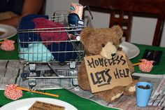 Bare Necessities party - making care packages for the homeless. (Wonderful idea for a bear themed party to assemble items to help the homeless.)