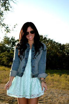 Aqua lace dress & Jean jacket but without thr jean jacket (;