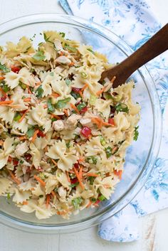 This Asian Pasta Salad has a satisfying crunchy texture and a completely addictive sesame-soy dressing that will have everyone coming back for seconds! ~ https://www.fromvalerieskitchen.com
