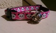 Panda Faces on Pink Breakaway Adjustable Cat by TheEmPURRium