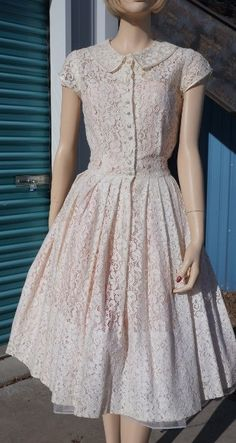 50's Pin Up Lace Button up Dress with full by HippieGypsyBoutique Under $90