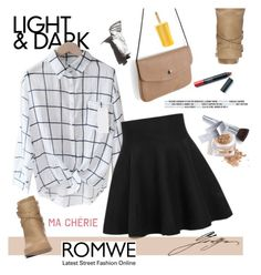 """ROMWE-High Waist Ruffle Skirt AND PLAID BLOUSE"" by pollito21 ❤ liked on Polyvore featuring Wallis, Christian Dior and Garance Doré"