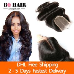 Queen hair store 7A Brazilian ᐃ Body Wave Closure Brazilian Lace closure  free/2/3Part  Human Virgin Hair DHL FreeshipingQueen hair store 7A Brazilian Body Wave Closure Brazilian Lace closure free/2/3Part  Human Virgin Hair DHL Freeshiping