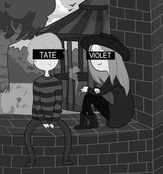 American Horror Story: Murder House. Tate & Violet stile cartoon