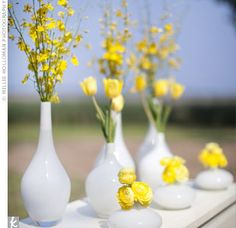 small yellow flowers in white vase - Google Search