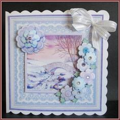 CHRISTMAS WINTER WATERFALL 8X8 Decoupage Mini Kit on Craftsuprint designed by Janet Briggs - made by Rae Trees