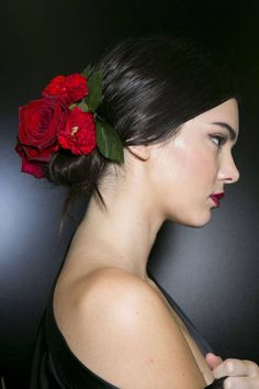 Long and short different hairstyles  with red rose  (14)