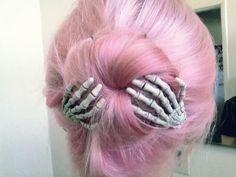 Cute skeleton hair clasps in her pink bun x