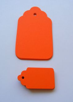 Bright Orange Scalloped Tags  Die Cut Gift by superchicboutique, $7.00