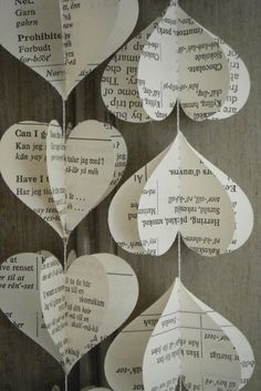 Book Page Crafts - Town & Country Living three dimensional heart garland
