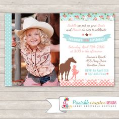 Items similar to Pink Shabby Cowgirl Birthday Invitation - Shabby Horse Invitation - Horse Birthday - DIY Custom Printable on Etsy Cowgirl Birthday Invitations, Diy Invitations, Invites, Horse Birthday Parties, Birthday Diy, Birthday Ideas, Horse Party, Cowgirl Party, Cow Girl