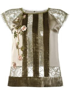 Alberta Ferretti striped floral lace blouse