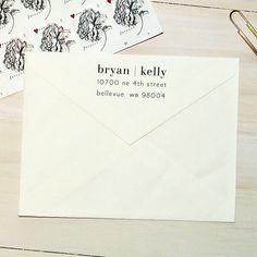 Return Address Stamp - Style #32, Wood Mounted or Self-Inking Address Stamp, Wedding Invitation Stamp, Personalized Stamp, Modern Stamp