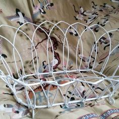 Beautiful Vintage White Wire Basket is perfect for an eclectic boho home.