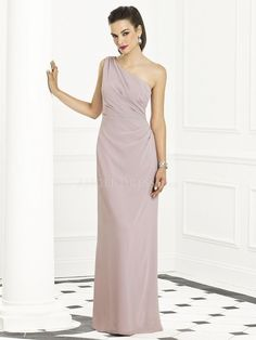 Floor Length Chiffon Sheath/ Column One Shoulder With Ruching Bridesmaid Gown