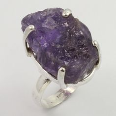 925 Sterling Silver Real AMETHYST Rough Gemstone Nice Ring Size US 8.75 Exporter
