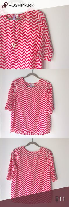 Strawberry Chevron Top Very cute and flowy quarter sleeve top. Size small. Chevron patterned. Strawberry and cream colored. 📬Fast Shipping📬 🥂10% off 2+ items🥂 Tops Blouses