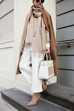 Scarf bag coat trousers white tan fashion ideas street style