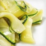 Zucchini Ribbons with Lemon and Parmesan, Serves four, 2.6 net carbs per serving, fine for all Atkins phases.