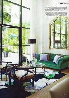 Contemporary interior design & decor / green sofas / Scan Belle Feb-Mar 2012 / living room
