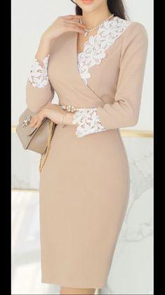 fashion dresses korean dresses - Sites new Stylish Dresses, Simple Dresses, Elegant Dresses, Pretty Dresses, Dresses Dresses, Classy Work Outfits, Classy Dress, Womens Dress Suits, Latest African Fashion Dresses